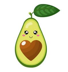 cute cartoon avocado character in love isolated vector image