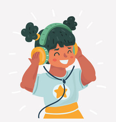 cute little girl with headphones vector image