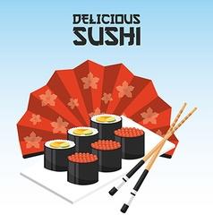 Delicious sushi vector