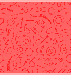 different simple arrows red seamless background vector image