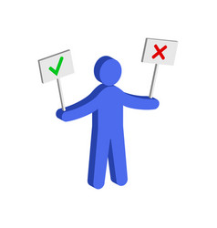 Figure man holding right and wrong signs flat vector