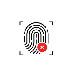 fingerprint icon with cross sign vector image