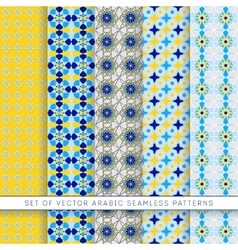 five blue-yellow arabic patterns vector image