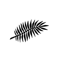flat black hand drawn palm leaf icon logo vector image