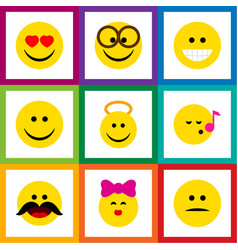 flat icon emoji set of pleasant displeased angel vector image