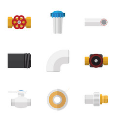 Flat icon industry set of tube plastic roll and vector