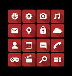 Flat icons red vector image