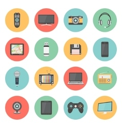 Flat icons set of multimedia devices vector image