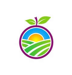 Fresh nature farm fruit logo vector