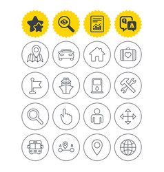 Gps navigation icon car bus and ship transport vector