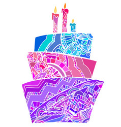 Greeting card with coloring cake vector