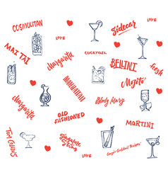 hand drawn classic cocktails elements collection vector image