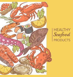 hand drawn seafood design with octopus salmon vector image