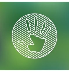 Hand print sign linear icon Stop pollution vector
