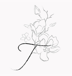 Handwritten line drawing floral logo monogram t vector
