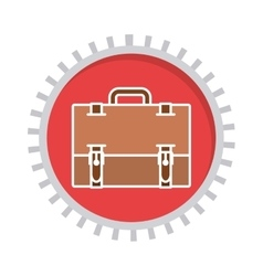 Image with suitcase in toothed circle vector