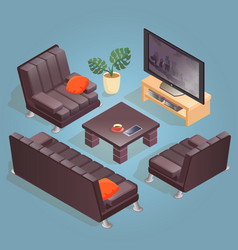 isometric cartoon armchair tv icon isolated o vector image