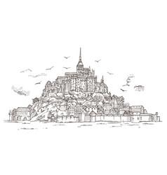Le mont saint michel normandy france hand drawn vector
