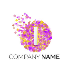 Letter i logo with purle particles and bubble dots vector