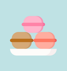 Macaron in various flavor simple icon in flat vector