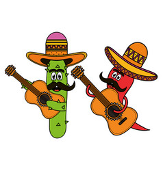 mexican cactus and chilli with hats and guitars vector image