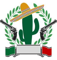 Mexican cactus and two pistols and laurel wreath vector