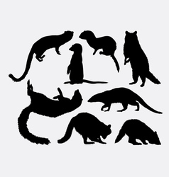 Mongoose and racoon mammal animal silhouette vector