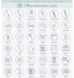 Office stacionery outline icon set Elegant vector image