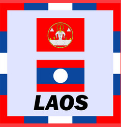 Official ensigns flag and coat of arm of laos vector