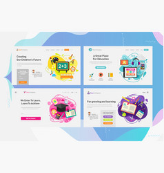 One page website kit for education and online vector
