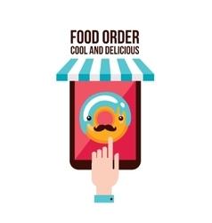 Online food order app Person choosing donut menu vector