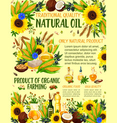 Organic farm vegetable oil vector