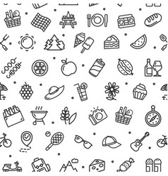 picnic signs seamless pattern background on a vector image