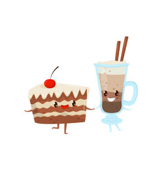 piece of cake and cocoa drink are friends forever vector image
