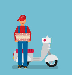 pizza delivery by courier with scooter flat vector image