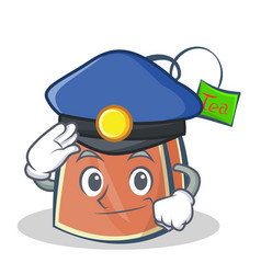 Police tea bag character cartoon vector