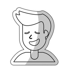 Portrait man smile outline vector