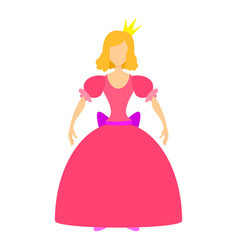 Princess in pink dress icon cartoon style vector