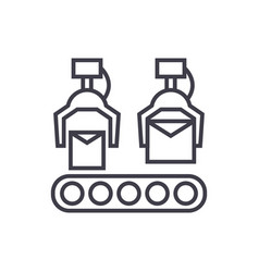 production line line icon sign vector image