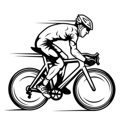 Professional cyclist riding a road bike in a bike vector