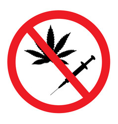 prohibition sign no drugs and marijuana allowed vector image
