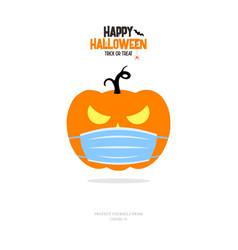 pumpkin with face mask wuhan outbreak coronavirus vector image
