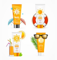 Realistic 3d detailed sunscreen set vector