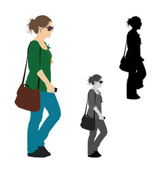 realistic colored of a woman walking with her vector image