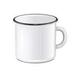 Realistic enamel metal white mug isolated vector