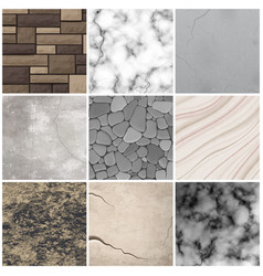 Realistic stone texture patterns collection vector