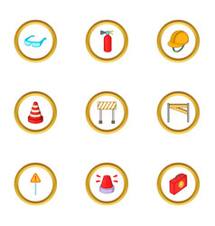 road construction icons set cartoon style vector image