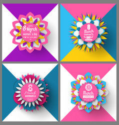 round origami with flowers womens day vector image