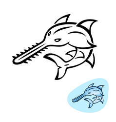 sawfish stylized saw shark logo design vector image