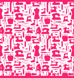 seamless pattern sewing tools red on white vector image